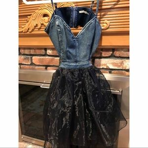Dresses & Skirts - Adorable denim cut out dress with black bottom.